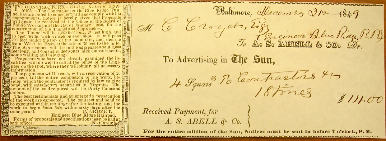 Ad for contractors, receipt from Baltimore Sun, 1849